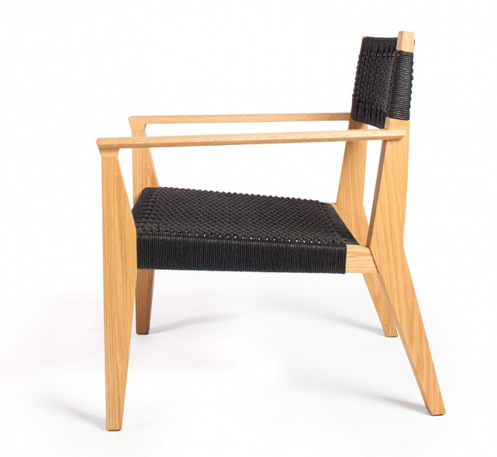Freyr Lounge Pictured In Oiled White Oak And Black Danish Cord.